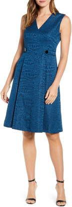Anne Klein Croc Jacquard Fit & Flare Dress