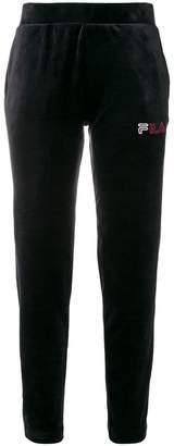 Fila logo velvet track trousers
