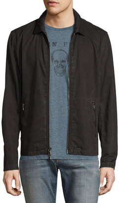 John Varvatos Star USA Zip-Front Denim Jacket, Black $348 thestylecure.com