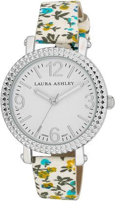 Laura Ashley Ladies Blue Floral Band Fluted Bezel Watch La31005Bl $295 thestylecure.com