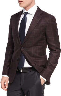 Windowpane Plaid Trofeo Wool Two-Button Sport Coat, Burgundy/Red