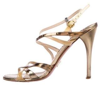 Prada Metallic High-Heel Sandals Gold Metallic High-Heel Sandals