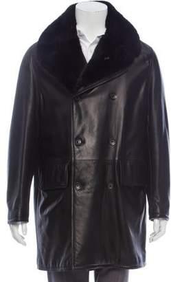 Armani Collezioni Mink Fur-Trimmed Leather Coat