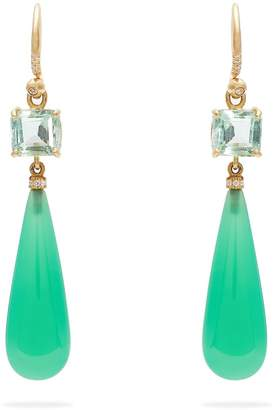 Irene Neuwirth Diamond & emerald gold earrings