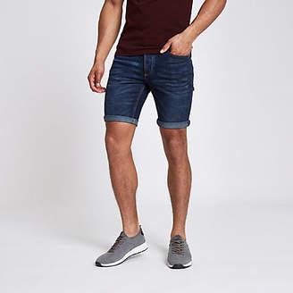 River Island Dark denim skinny rolled hem shorts