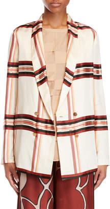 Alysi Plaid Silky Jacket