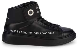 Alessandro Dell'Acqua Logo Leather High-Top Sneakers