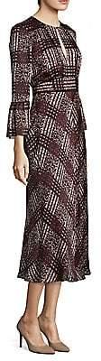 LK Bennett Women's Silk Bell-Sleeve Midi Dress