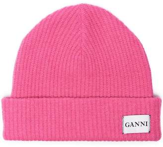 Ganni knitted logo beanie