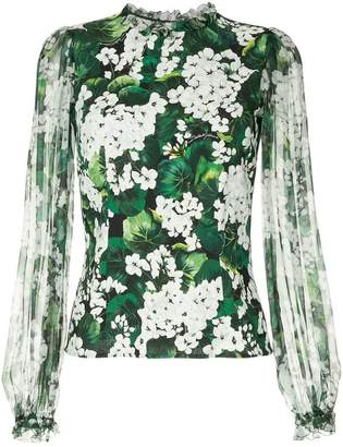 Dolce & Gabbana white geranium printed blouse