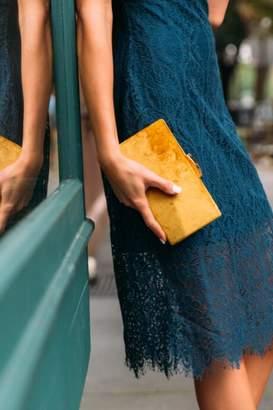 francesca's Willow Velvet Clutch in Marigold - Mustard