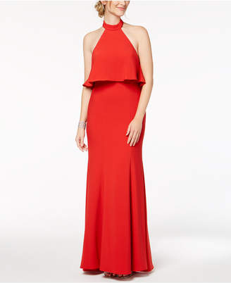 Xscape Evenings Popover Ruffle-Back Halter Gown