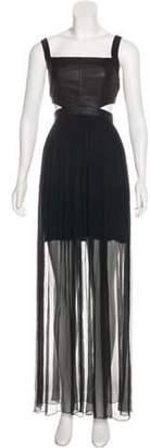 Alice + Olivia Leather-Silk Maxi Dress w/ Tags Black Leather-Silk Maxi Dress w/ Tags