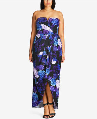 City Chic Plus Size Floral-Print Convertible Maxi Dress
