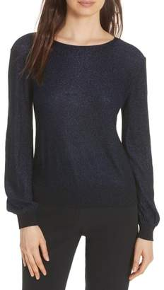 Milly Metallic Shimmer Cotton Blend Sweater