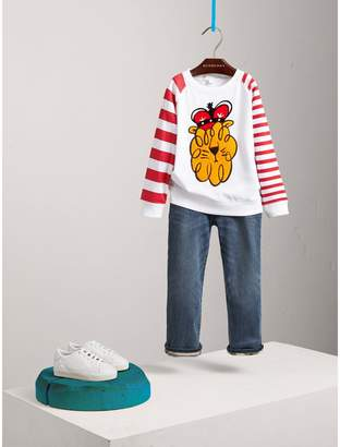 Burberry Icons Motif Striped Cotton Top