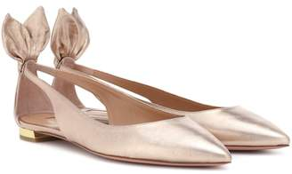 Aquazzura Deneuve metallic leather ballerinas