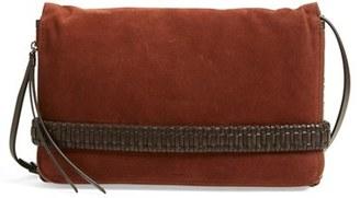 ALLSAINTS 'Large Club' Suede & Leather Clutch $278 thestylecure.com