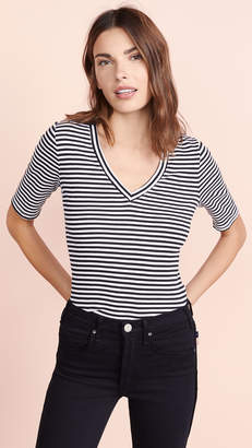 Three Dots Bali Stripe Half Sleeve Tee