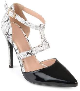 Brinley Co. Women's Faux Patent Leather Pointed Toe T-strap Heels