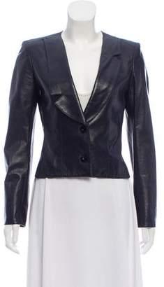 Chanel Leather Notch-Lapel Jacket