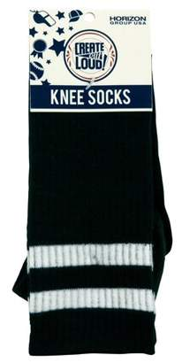 Create out Loud Black Knee Socks With White Stripe