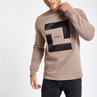 River Island Stone slim fit 'MCMLX' sweatshirt