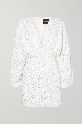 retrofete Aubrielle Sequined Chiffon Mini Dress - White