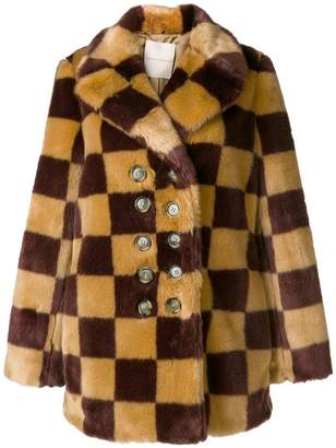 Marco De Vincenzo checked faux fur coat