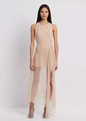 Emporio Armani Georgette Dress With Long Draped Skirt In Silk Chiffon