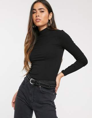 Stradivarius ribbed jersey top with embellished cuff detail in black