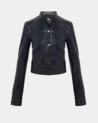 Theory Patent Leather Mod Bomber Jacket