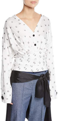 Hellessy Sphinx V-Neck Cosmic-Print Fil Coupe Blouse w/ Wobi Belt