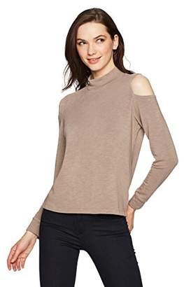 Monrow Women's Turtleneck Cold Shoulder Top
