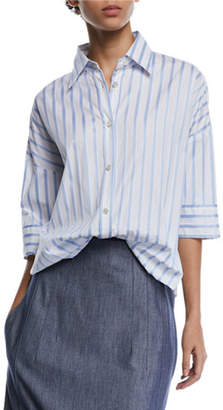 Derek Lam Short-Sleeve Button-Down Striped Satin Shirt