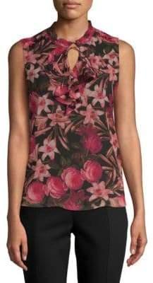 Floral-Print Sleeveless Blouse