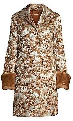 Elie Tahari Women's Sampson Matelassé Jacquard Fur Cuff Coat