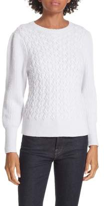 Rebecca Taylor Wavy Cable Cotton Wool Blend Sweater
