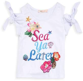 Baby Sara by Sara Sara Little Girl's Graphic Print Cold-Shoulder Tee