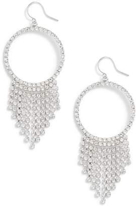 CRISTABELLE Crystal Fringe Hoop Drop Earrings