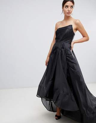 Bariano full maxi dress with origami bust detail in black