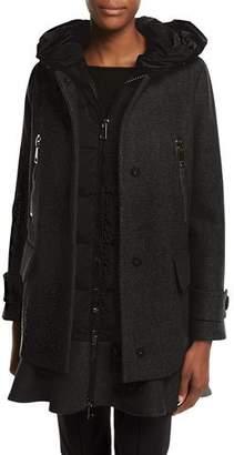 Moncler Phemia Puffer Vest w/ Peplum Hem, Gray
