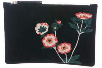Creatures of the Wind Floral Embroidered Suede Zip Pouch
