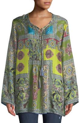 Johnny Was Hana Paisley-Print V-Neck Tassel-Tie Silk Top, Plus Size