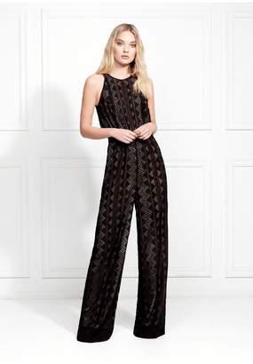 Rachel Zoe Roxane Geo Embroidery Wide-Leg Jumpsuit