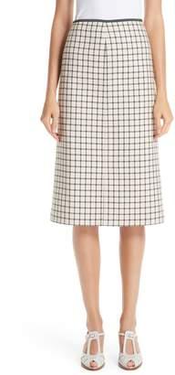 Fendi Check Wool Pencil Skirt