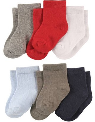Luvable Friends Newborn Baby Boys Solid Crew Socks 6 Pack