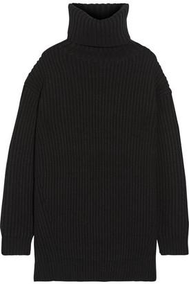 Disa Oversized Ribbed Wool Turtleneck Sweater - Black
