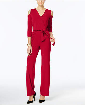 NY Collection Petite Surplice Cold-Shoulder Jumpsuit