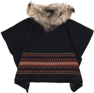 Il Gufo Cotton & Wool Jacquard Poncho W/ Fur